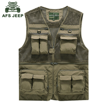 AFS JEEP 2016 Outdoors men's casual brands summer mesh vests military coats reporter shoot coat man sport grid vest 6868(China (Mainland))