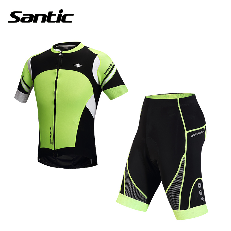 SANTIC Men's Quick Dry Short Sleeve Cycling Jersey + 4D Padded Bib Shorts Outdoor Sports Breathable Bicycle Bike Wear Clothing