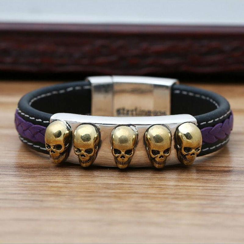 2016 Inlaid copper Personality Skull Evil Eye Leather 925 sterling silver bracelet bangle for men or women fine jewelry 925 GR13<br><br>Aliexpress