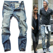JJ 2015 New arrived mens jeans light blue color straight ripped jeans beckham same style casual pants,big size 28-40,wholesale(China (Mainland))