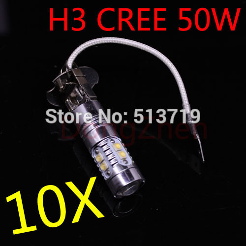 2014 new 10X H3 CREE XBD 50W LED Fog Light 12V-24V car DRL light lamp auto bulb lighting Car Styling