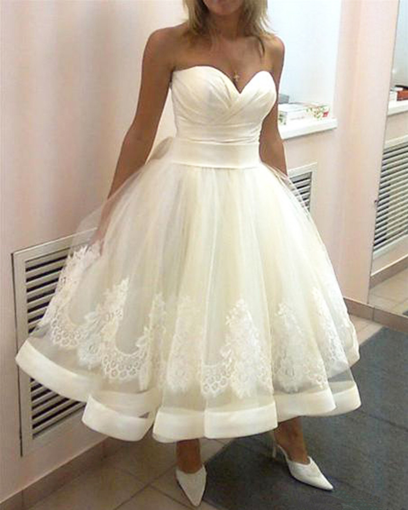 2015 vestido de noiva vintage tea length wedding dresses for Vintage wedding dresses tea length