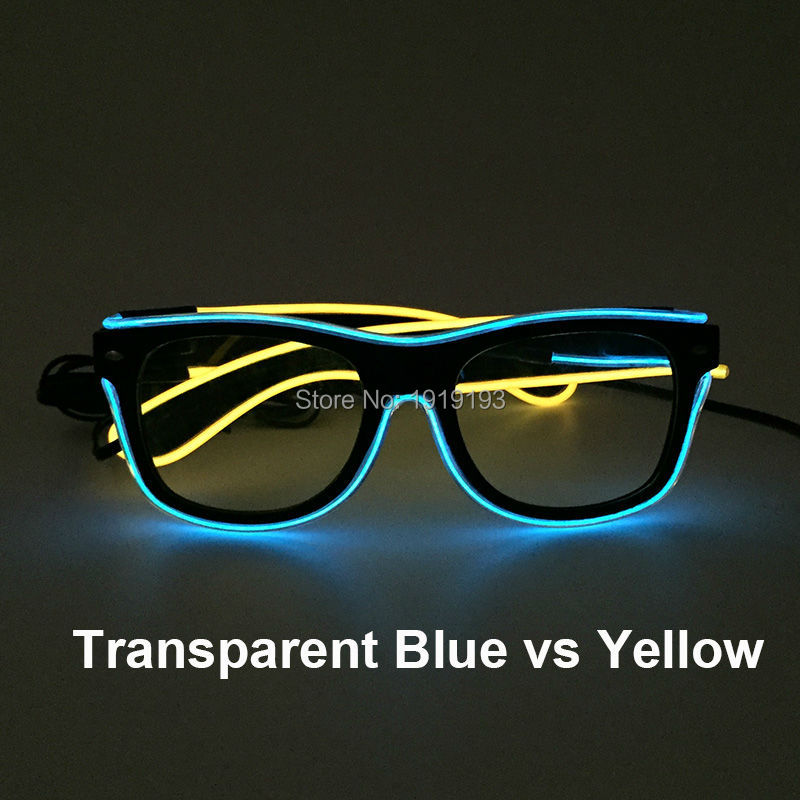 High quality Fashion Show decor EL wire Sparkling Sunglasses Holiday Lighting Shine LED Neon Eyewear Powered by 2-AA batteries