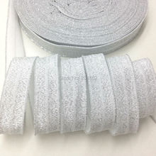 "Buy 10yards/lot 5/8"" Silver Metallic White Fold Elastic Silver Sparkling Glitter FOE Ribbon DIY Headwear Hair Accessories for $3.15 in AliExpress store"