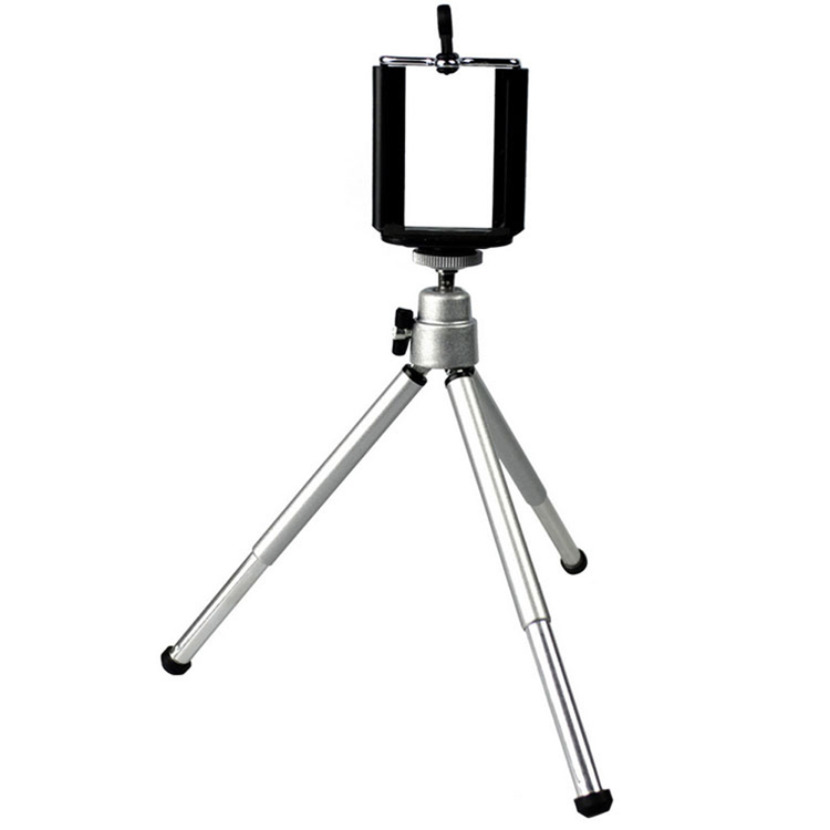 Silver Aluminum Only Tripod Mini Smart Phone Camera Tripod Stand Clip Bracket Holder Mount Adapter For Self-Timer PA-011713-SV(China (Mainland))