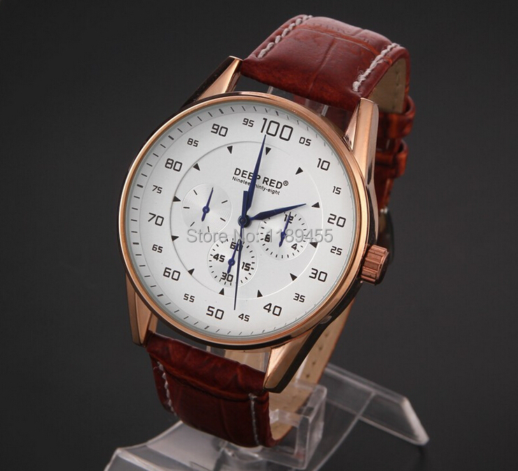 Hot Sale High Quality Cool Dress Fashion Quartz Watches Sports Wristwatches Analog Men's Leather Strap Watch DEEP RED New 2014(China (Mainland))