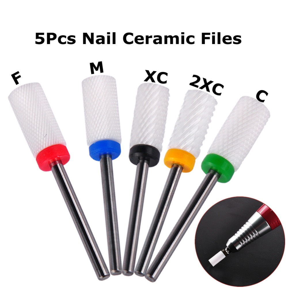 5Pcs/set Professional Ceramic Gel Electric Nail File Buffer Set or File Polish Nail Art Equipment Tools Drill for Manicure(China (Mainland))