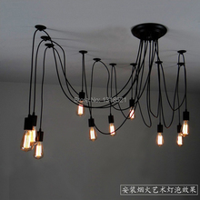 Mordern Nordic Retro Edison Bulb Light Chandelier Vintage Loft Antique Adjustable DIY E27 Art Spider Ceiling Lamp Fixture Light(China (Mainland))