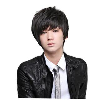 Мужская красивый парики nautral волосы жаропрочных синтетические парики черный коротышка парик косплей костюм корейской мужской красивый парик коричневый