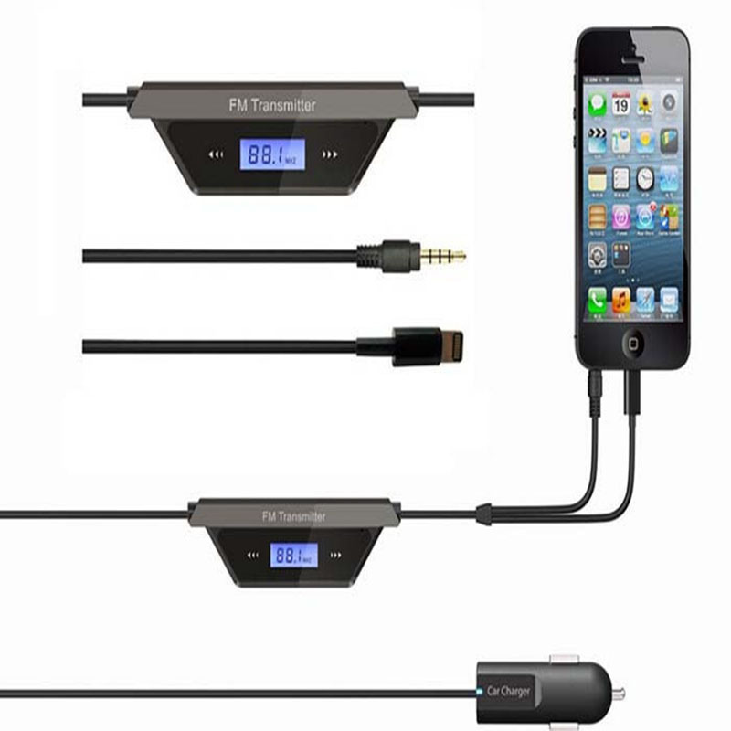 2015 NEW 3.5mm Jack LCD Screen Audio FM Transmitter Car Charger Micro USB DeviceDC 12~24V For iphone 6/ MP3/ Radio Adapter(China (Mainland))