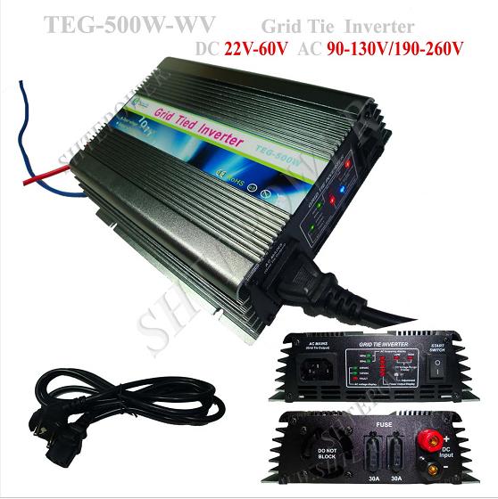 TEG-500W DC 22-60V to AC 220V 230V 240V On Grid Tie Micro Solar Inverter 500W With MPPT(China (Mainland))