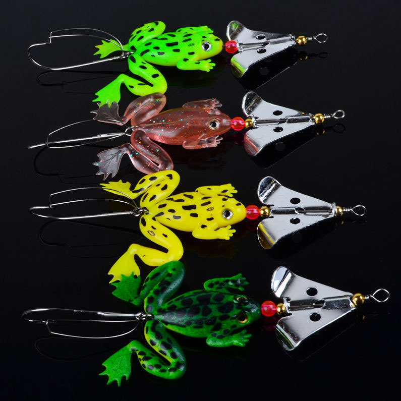 1pcs/lot Rubber Frogs Soft Fishing Lures Bait Set Bass Tackle 9cm_3.54'_6.2g spinner spoon Lures free shipping(China (Mainland))