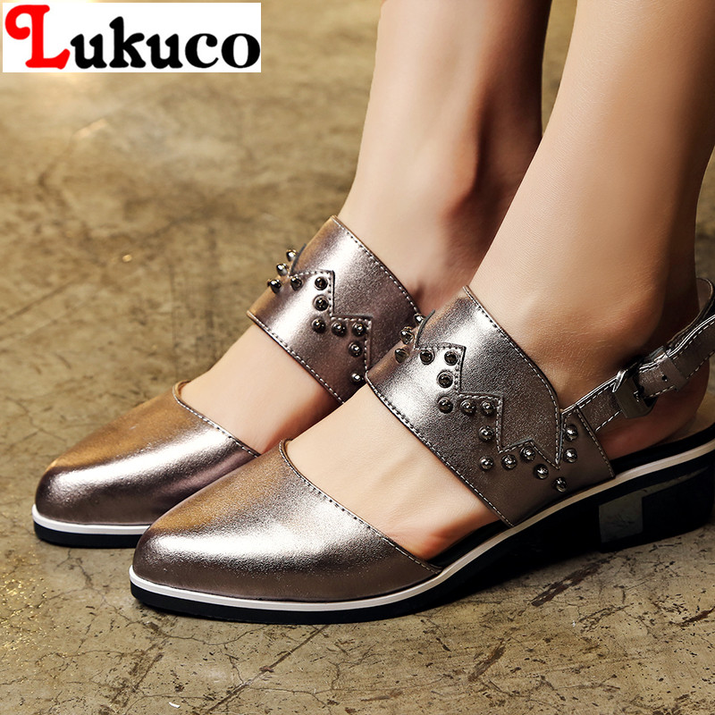 2016 fashion summer lady sandals EUR SIZE 40 41 42 43 full grain leather women shoes slingbacks flats  -  LUKU CO., LIMITED store