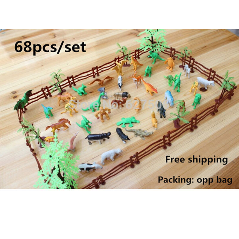 Simulation Zoo 68pcs/set containing solid fence coconut tiger dinosaur model toys for children of military Free shipping(China (Mainland))
