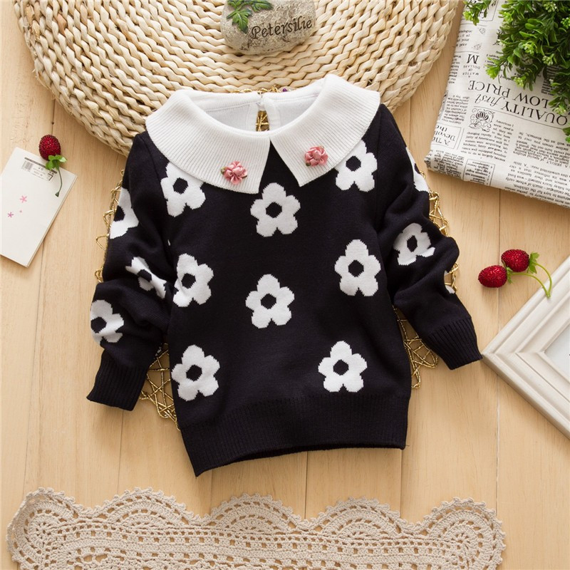 kids 2015 Autumn winter baby girls flower Sweaters baby shirt collar turtleneck Long sleeve knitted warm sweater 4 colors(China (Mainland))