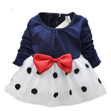 2015 New Cute Baby Girls Dress Cotton and Lace Mini Ball Grown Dresses Kids Clothes For 0-2 Years Baby Bowknot Polk dot dress(China (Mainland))