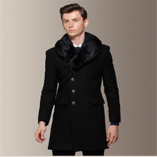 Mens Wool Coat Removeable Fur Collar 60% Wool Men's Long Pea Overcoat Peacoats Fall And Winter Fashion Slim Fit Trenchcoat A751(China (Mainland))