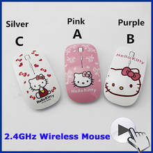 Free Shipping 2.4Ghz ultra thin slim women wireless mouse sem fio mini pink hello kitty mouse for computer desktop(China (Mainland))