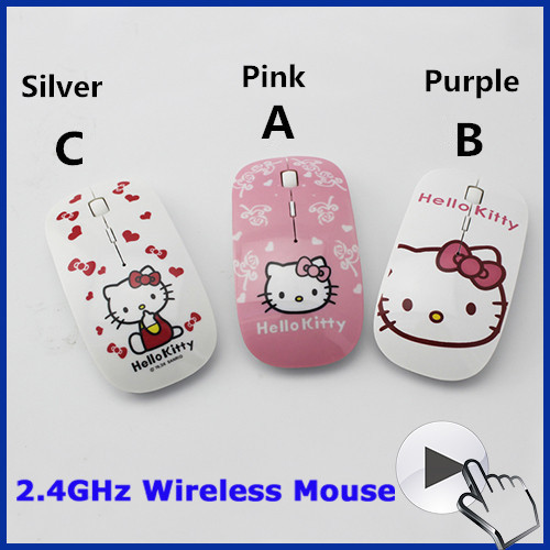 Free Shipping New Mini 2.4Ghz wireless mouse ultra thin hello kitty mouse sem fio mice for laptop pc computer mouse women gift(China (Mainland))