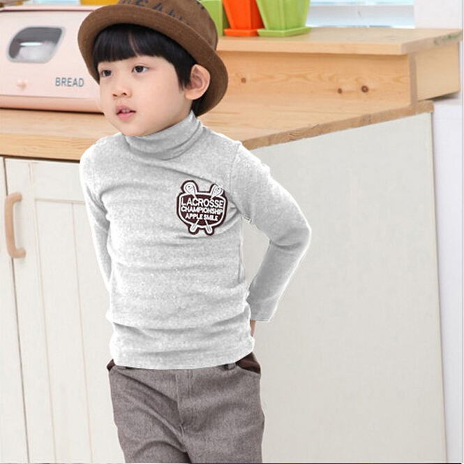 2015 autumn winter kids thick high neck good quality long for Good quality long sleeve t shirts