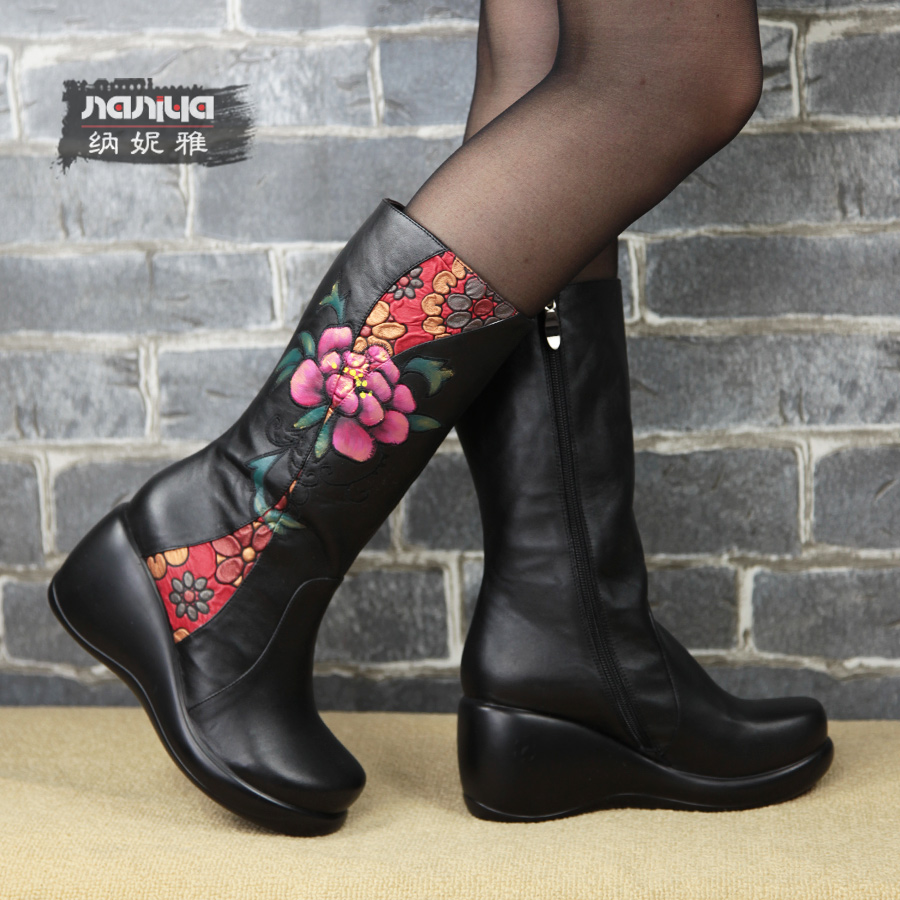 Embroidered Leather Leather Boots Embroidered
