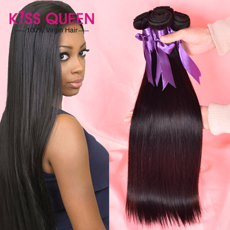 Queen hair products 5A virgin brazilian hair straight, cheap unprocessed remy 100 brazilian virgin hair straight 3 bundle deals