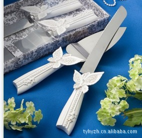 Fashion personalized stainless steel butterfly wedding party bridal cake server set cake knife(China (Mainland))