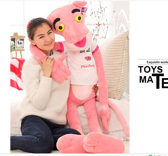 large 180cm cartoon toy white T- shirt pink panther plush toy soft hugging pillow toy birthday gift a1301(China (Mainland))