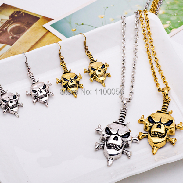 Free shipping accessories chains charms gold necklace crystal jewelry skull pendant fashion necklaces for women 2014 T1572(China (Mainland))