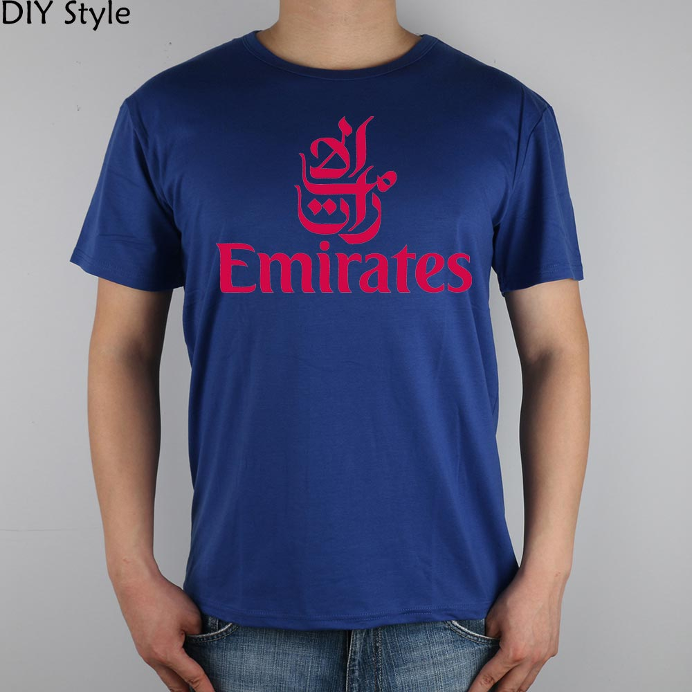 FLY EMIRATES Airlines T-shirt Top Lycra Cotton Men T shirt New Design High Quality Digital Inkjet Printing(China (Mainland))