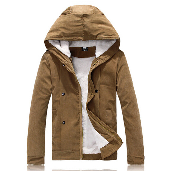2015 New Fashion Khaki Cotton Jacket Parka With Hood Warm Winter Coat Mens Epaulet Jackets Coats