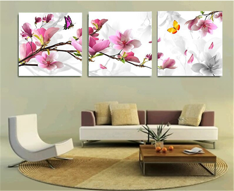 Luxury Elegant 3pcs Flower Oil Painting Printed Painting Oil Painting On Canvas Home Decorative Art Picture Unframed Paintings(China (Mainland))