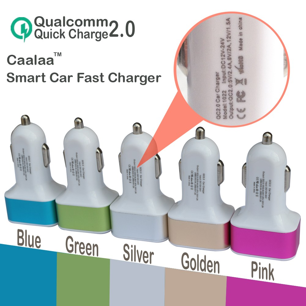 caalaa 3 USB Quick Charge 2.0 Car Charger for Samsung GalaxyS6 HTC Phone Charger QC 2.0 High Speed Fast charger for Xiaomi QC2.0