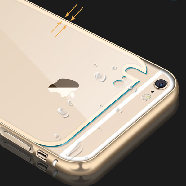 For iPhone 6 Metal Aluminum +Clear Acrylic Back Case For Apple iPhone 6 Plus Luxury Hybrid Hard Armor Cover Shell 4.7''/5.5inch(China (Mainland))