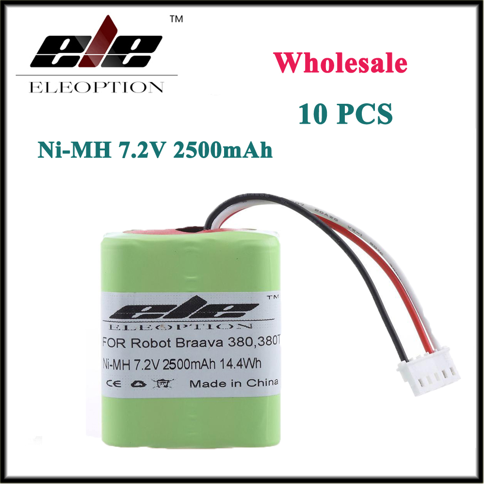 10 PCS Wholesale Eleoption 2.5Ah 2500mAh Ni-MH 7.2V Rechargeable Battery for iRobot Roomba Braava 380 380T(China (Mainland))