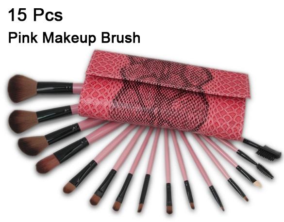 2015 New 15Pcs Makeup Brushes Eye Facial Cosmetics Kit Hot Sale Pink Naked Make Up Brush set Professional With Natural Hair(China (Mainland))
