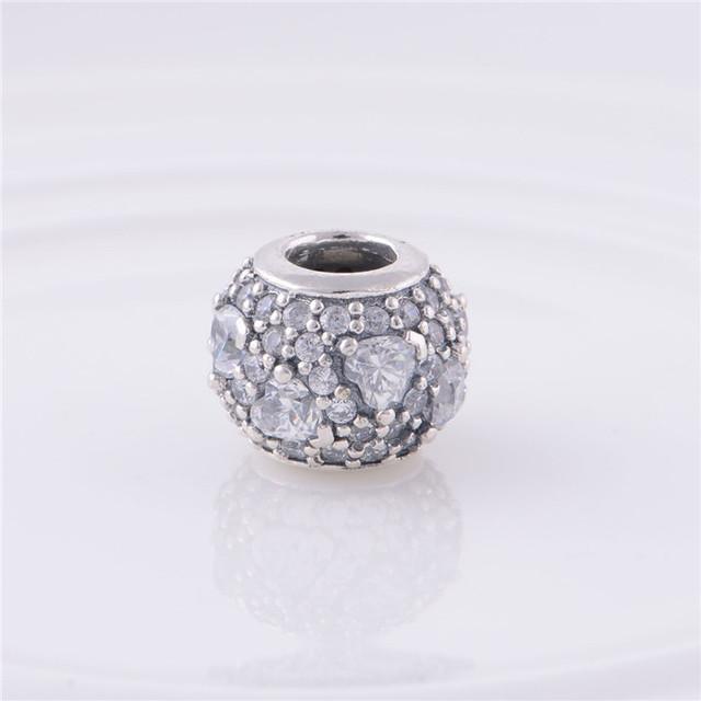 Стерлингового серебра 925 вымощают шар прелести бусины с любовью в форме сердца прозрачного хрусталя DIY мода ювелирных изделий подходит пандора браслет