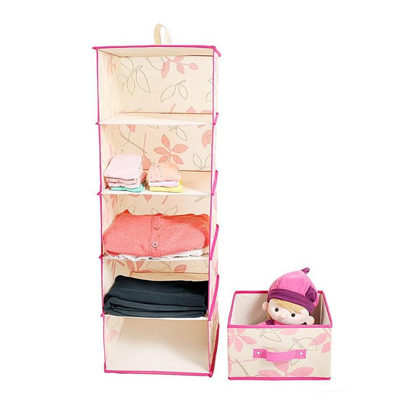 5 Shelf Closet Divider Organizador Wardrobe Hanging Storage Bin Box Container With Drawer For Coat Hat Sock Underwear Ties Boxes(China (Mainland))