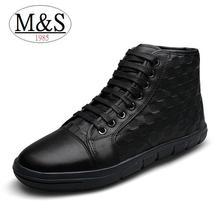 Más el tamaño 38-47 de la felpa caliente zapatos de invierno en relieve de cuero genuino hombres botas de moda de los hombres de nieve botas de tobillo superior calidad(China (Mainland))