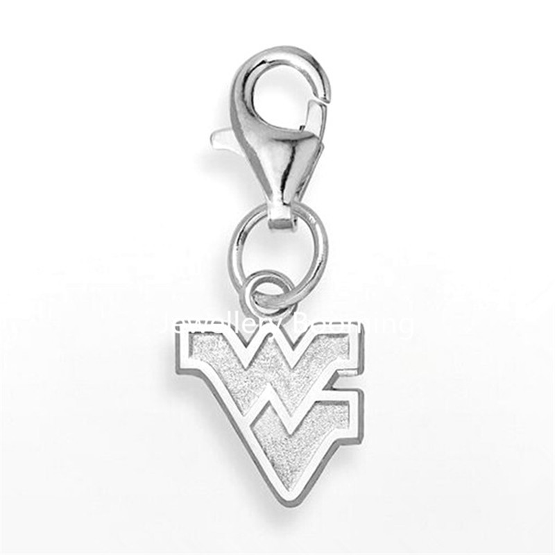 (50 pieces/lot) Material Alloy Rhodium Plated West Virginia Mountaineers Collar Charm(China (Mainland))