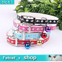 Hot New A Cat Collar Cat Dog Pet Collar Products For Animals Material Pu Blink Red Blue Black Pink Size 1.0*32Cm  Free Shipping(China (Mainland))