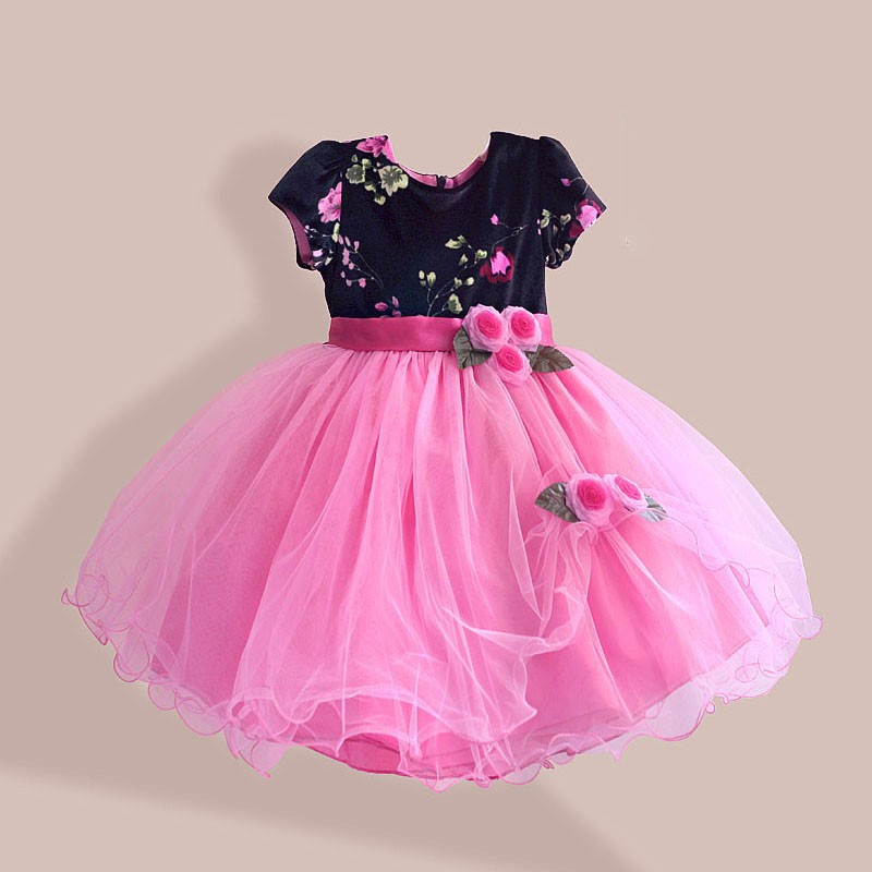 Velvet girl flower dress designer girls party dresses novelty girl winter dress high street