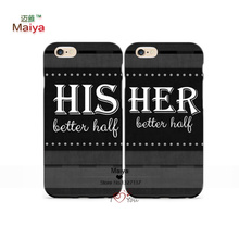 2pcs/Lots His and Her Better Half Lover Phone Cases For Iphone6 6plus Case Cover Valentine's Gift