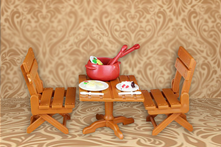 Minecraft DollHouse BabyToys Miniature Folding Furniture 1/12 Dining Table with Chairs Cooking Accessories Sylvanian Families(China (Mainland))