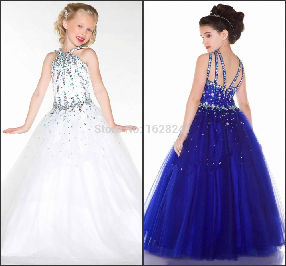 Girl's Pageant Dresses Cute Princess Crystal Communion Dress White/Royal Blue Ball Gown Flower Girl Dresses For Weddings 2016(China (Mainland))