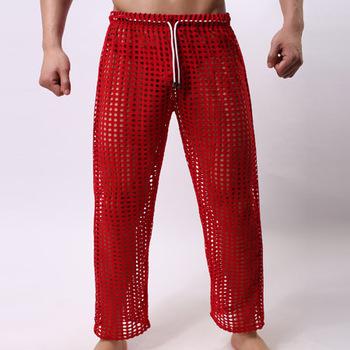 Мужчины гостиная сна сексуальные брюки сетки для мужчин твердые мужские красные днища ...