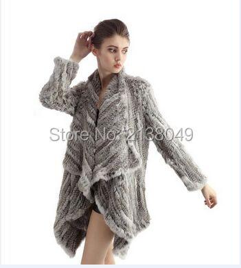 FC00402 Женщины Зима Теплая Куртки Настоящее Кролика Трикотажные Пальто