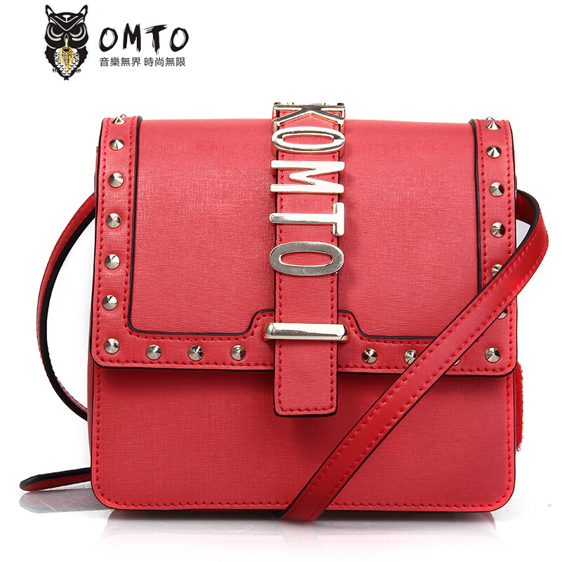 Фотография Women genuine leather bag famous brands fashion Personality small square metal buckle cowhide leather shoulder Messenger bag