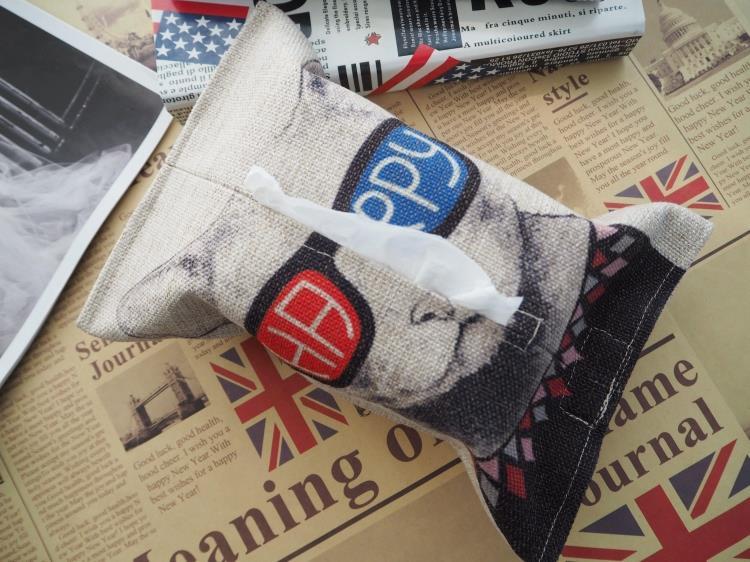 Happy Glasses Yoda Master Cat Linen Car Paper Towel Box Set Tissue Paper Napkin Storage Tissue Box Tissue Bag Home Decor Gift(China (Mainland))