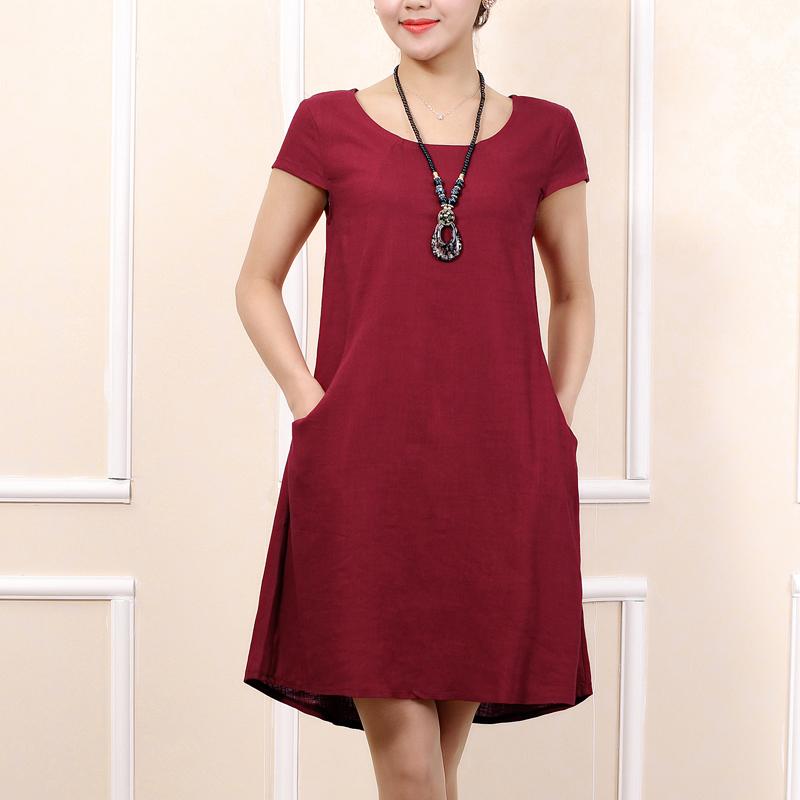 Free shipping summer dress 2015 New Linen Dress Fashion high waist slim Sleeveless cotton Linen dress plus size full dress